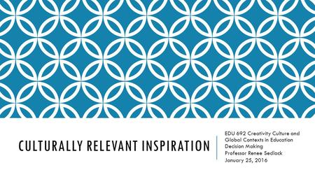 CULTURALLY RELEVANT INSPIRATION EDU 692 Creativity Culture and Global Contexts in Education Decision Making Professor Renee Sedlack January 25, 2016.