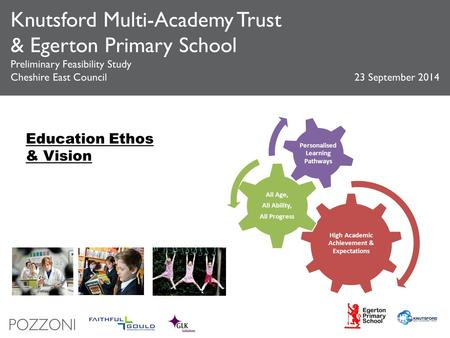 Knutsford Multi-Academy Trust & Egerton Primary School Preliminary Feasibility Study Cheshire East Council 23 September 2014 High Academic Achievement.