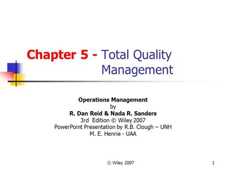 Chapter 5 - Total Quality Management