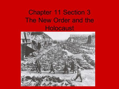 Chapter 11 Section 3 The New Order and the Holocaust.