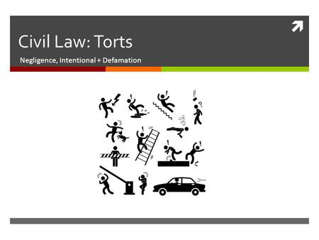 Civil Law: Torts Negligence, Intentional + Defamation.