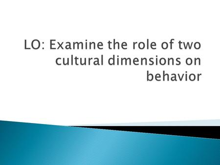  Hofstede (1980) created this term to mean an aspect of culture that can be measured relative to other cultures.  Differences in behavior are a consequence.