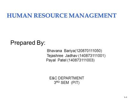 HUMAN RESOURCE MANAGEMENT 1–1 Prepared By: Bhavana Bariya(120870111050) Tejashree Jadhav (140873111001) Payal Patel (140873111003) E&C DEPARTMENT 3 RD.