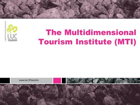 The Multidimensional Tourism Institute (MTI). Finland Map: Google.