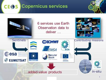 Copernicus services 1 6 services use Earth Observation data to deliver … Sentinels Contributing missions in-situ …added-value products.