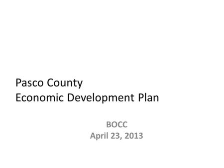 Pasco County Economic Development Plan BOCC April 23, 2013.