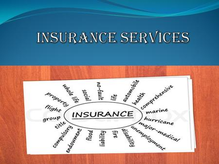 (A) LIFE INSURANCE : Term Life Insurance Permanent Life Insurance (B) GENERAL INSURANCE Fire Insurance Marine Insurance Accident Insurance (C) HEALTH.