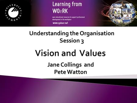 Jane Collings and Pete Watton Understanding the Organisation Session 3.