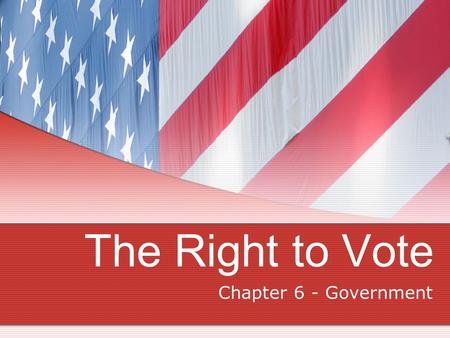 The Right to Vote Chapter 6 - Government. The History of Voting Rights The Framers of the Constitution purposely left the power to set suffrage qualifications.