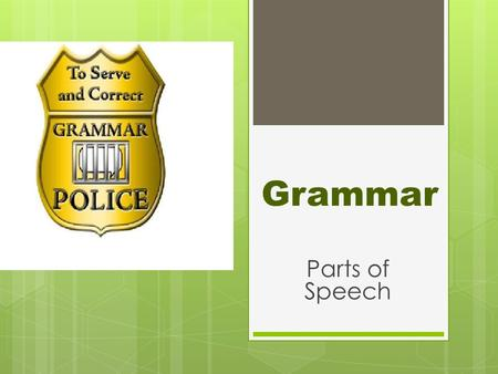 Grammar Parts of Speech. Nouns  A noun is the part of speech that names a person, place, thing or idea.  person – girl, man, James  place – school,
