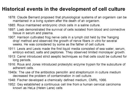Historical events in the development of cell culture