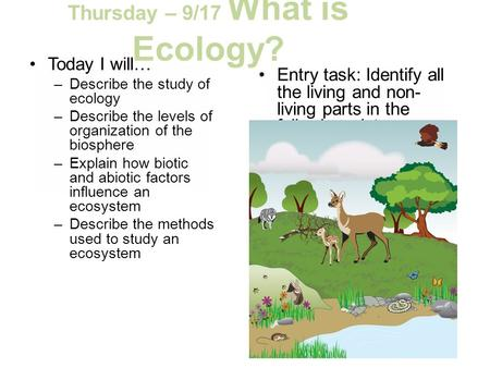 Thursday – 9/17 What is Ecology? Today I will… –Describe the study of ecology –Describe the levels of organization of the biosphere –Explain how biotic.