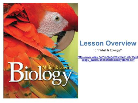 Lesson Overview Lesson Overview What is Ecology? Lesson Overview 3.1 What Is Ecology?  iology_basics/animations/ecosystems.swf.
