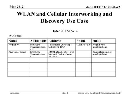 Submission doc.: IEEE 11-12/0346r2 WLAN and Cellular Interworking and Discovery Use Case Date: 2012-05-14 Slide 1Joseph Levy, InterDigital Communications,
