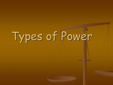 Types of Power. Performance Objectives: Performance Objectives: 1. List the types of power generated from renewable resources. 2. List the types of power.