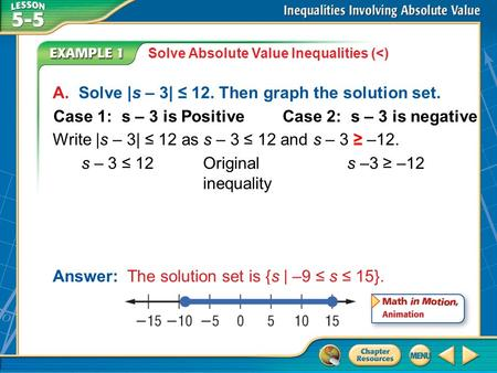 Example 1 Solve Absolute Value Inequalities (<) A. Solve |s – 3| ≤ 12. Then graph the solution set. Write |s – 3| ≤ 12 as s – 3 ≤ 12 and s – 3 ≥ –12. Answer: