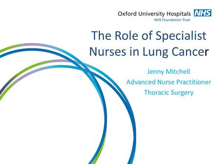 The Role of Specialist Nurses in Lung Cancer Jenny Mitchell Advanced Nurse Practitioner Thoracic Surgery.