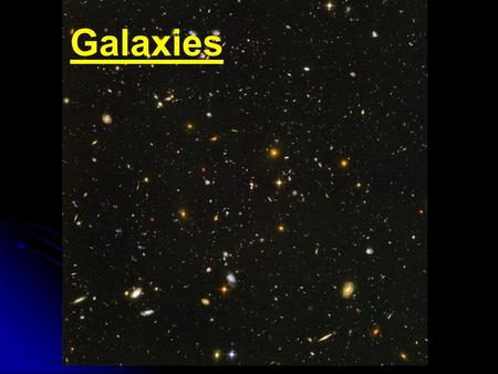 Galaxies. Edwin Hubble (1889-1953) Discovered that the universe goes beyond the Milky Way He was the first person to establish the distances to other.