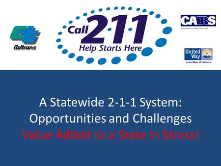 A Statewide 2-1-1 System: Opportunities and Challenges Value Added to a State in Stress! California Alliance of Information and Referral Service.