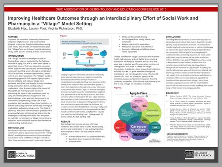 OHIO ASSOCIATION OF GERONTOLOGY AND EDUCATION CONFERENCE 2015 Improving Healthcare Outcomes through an Interdisciplinary Effort of Social Work and Pharmacy.