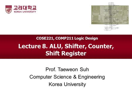 Lecture 8. ALU, Shifter, Counter, Shift Register Prof. Taeweon Suh Computer Science & Engineering Korea University COSE221, COMP211 Logic Design.