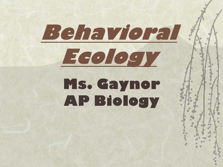 Behavioral Ecology Ms. Gaynor AP Biology.  Social behavior = the interaction among members of a population  Behavioral biology = study of what animals.