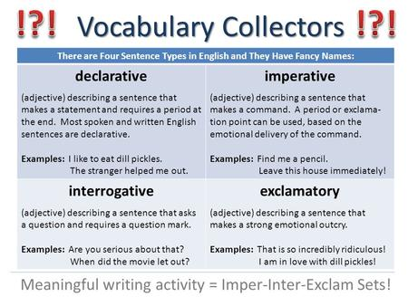 Vocabulary Collectors Meaningful writing activity = Imper-Inter-Exclam Sets! There are Four Sentence Types in English and They Have Fancy Names: declarative.
