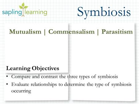 Symbiosis Mutualism | Commensalism | Parasitism Learning Objectives