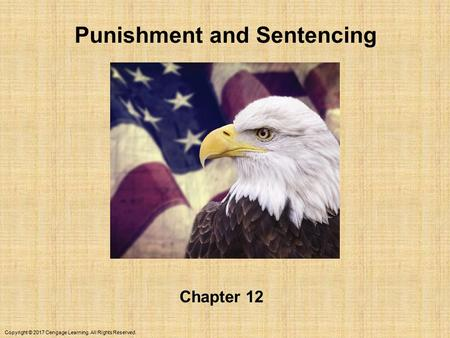 Copyright © 2017 Cengage Learning. All Rights Reserved. Punishment and Sentencing Chapter 12.