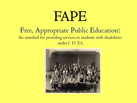 FAPE Free, Appropriate Public Education : the standard for providing services to students with disabilities under I D EA.