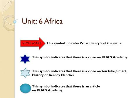 Unit: 6 Africa STYLE of ART This symbol indicates that there is a video on KHAN Academy This symbol indicates that there is a video on You Tube, Smart.
