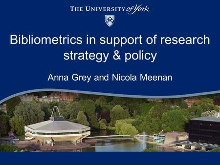 Bibliometrics in support of research strategy & policy Anna Grey and Nicola Meenan.