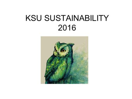 "KSU SUSTAINABILITY 2016. From 2012 - 2015 Kennesaw State University has been among seven Georgia Colleges & Universities named in the ""Green Colleges."