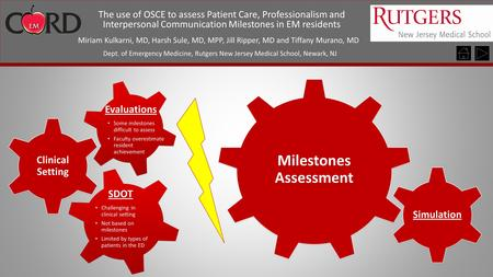 The use of OSCE to assess Patient Care, Professionalism and Interpersonal Communication Milestones in EM residents Miriam Kulkarni, MD, Harsh Sule, MD,
