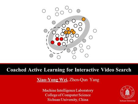 Coached Active Learning for Interactive Video Search Xiao-Yong Wei, Zhen-Qun Yang Machine Intelligence Laboratory College of Computer Science Sichuan University,