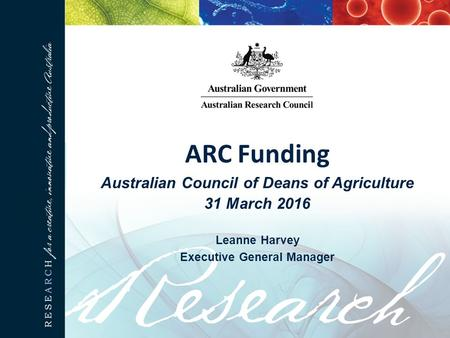 ARC Funding Australian Council of Deans of Agriculture 31 March 2016 Leanne Harvey Executive General Manager.