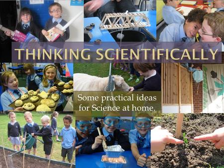Some practical ideas for Science at home.. Thinking Scientifically  Observing  Comparing  Finding patterns  Explaining  Using abstract explanations.