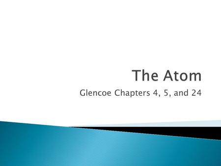 Glencoe Chapters 4, 5, and 24. Atoms: The smallest component of an element having the chemical properties of that element.