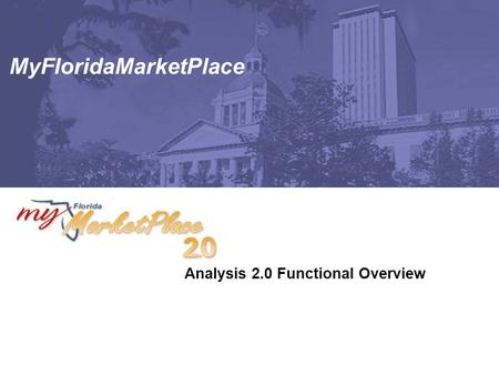 MyFloridaMarketPlace Analysis 2.0 Functional Overview.