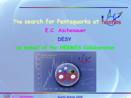 1 Exotic States 2005 E.C. Aschenauer The search for Pentaquarks at on behalf of the HERMES Collaboration E.C. Aschenauer DESY.