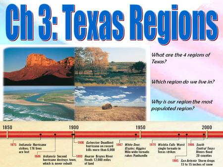 What are the 4 regions of Texas? Which region do we live in? Why is our region the most populated region?
