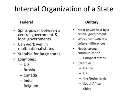 Internal Organization of a State FederalUnitary Splits power between a central government & local governments Can work well in multinational states Suitable.