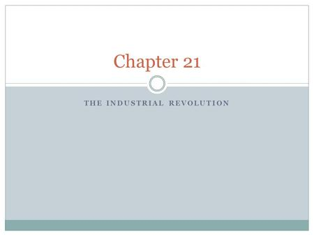 THE INDUSTRIAL REVOLUTION Chapter 21. A NEW KIND OF REVOLUTION Chapter 21.1.