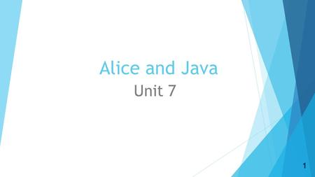 Alice and Java Unit 7 1. Day 1  Objective: Gain an introduction to Java and Eclipse  Essential skill: DM-1: Use technology to advance critical thinking.