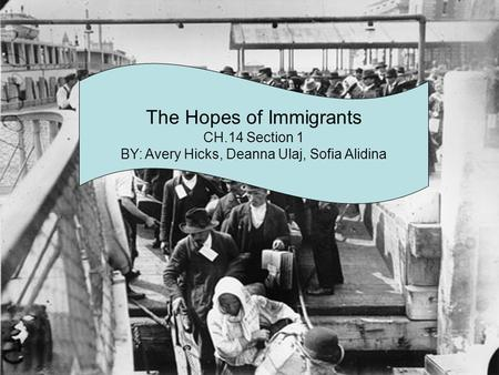 The Hopes of Immigrants CH.14 Section 1 BY: Avery Hicks, Deanna Ulaj, Sofia Alidina.