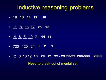 Inductive reasoning problems 7 8 16 17 … 4 8 5 10 … 2526 11 7 14 720 120 24 … 621 2 3 10 12 … 13212030-39 2000 22 - 29200-399 18 16 14 ?? ?? 1210 Need.