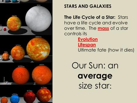 STARS AND GALAXIES The Life Cycle of a Star: Stars have a life cycle and evolve over time. The mass of a star controls its Evolution Lifespan Ultimate.