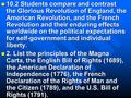 10.2 Students compare and contrast the Glorious Revolution of England, the American Revolution, and the French Revolution and their enduring effects worldwide.