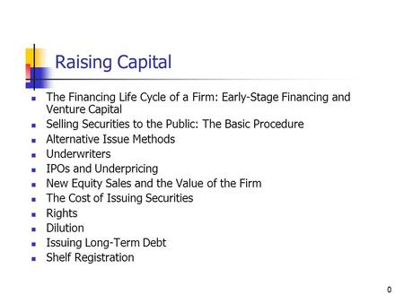 0 Raising Capital The Financing Life Cycle of a Firm: Early-Stage Financing and Venture Capital Selling Securities to the Public: The Basic Procedure Alternative.