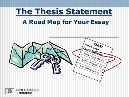 The Thesis Statement © 2001 by Ruth Luman A Road Map for Your Essay References ESSAY Introduction Thesis Statement Body Paragraph #1 Body Paragraph #2.